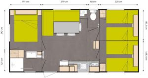 mobil home 3 chambres plan